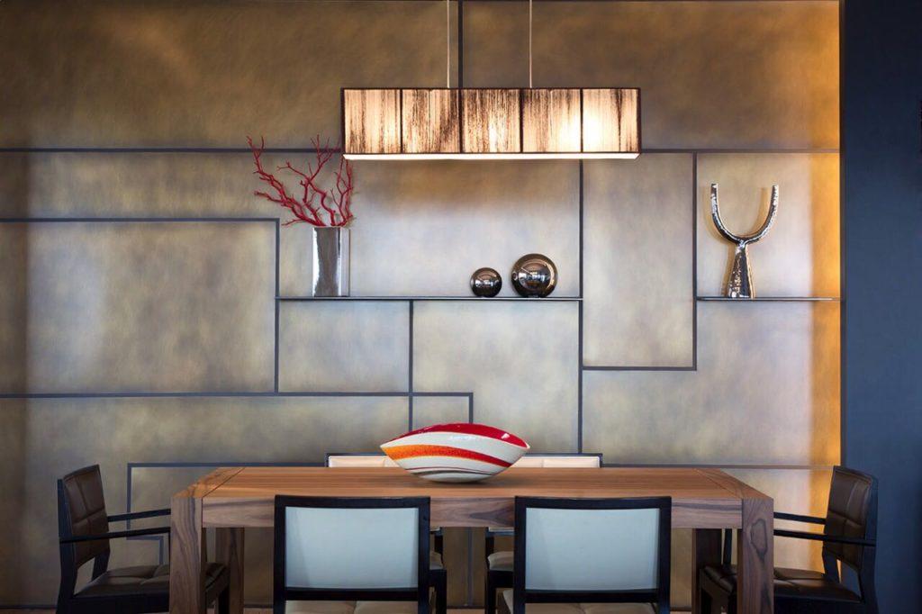 salotto parete 3d bronzo